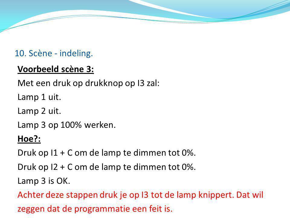 Voorbeeld scène 3: Met een druk op drukknop op I3 zal: Lamp 1 uit. Lamp 2 uit. Lamp 3 op 100% werken. Hoe?: Druk op I1 + C om de lamp te dimmen tot 0%