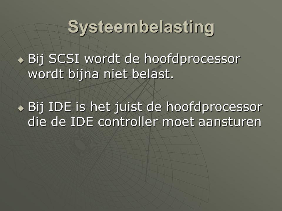 Systeembelasting  Bij SCSI wordt de hoofdprocessor wordt bijna niet belast.