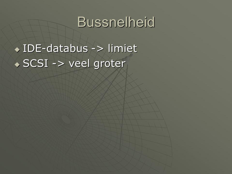 Bussnelheid  IDE-databus -> limiet  SCSI -> veel groter