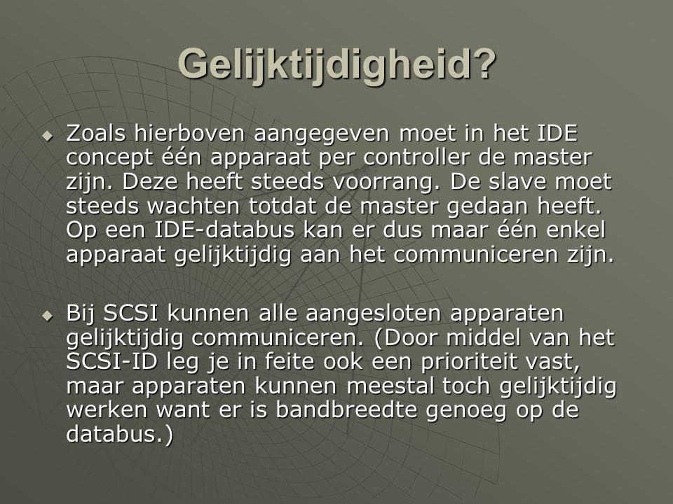 Zelfstandigheid  SCSI -> zelfstandig  IDE -> moet wachten op een resultaat