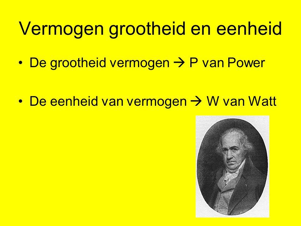 Vermogen berekenen Vermogen = spanning x stroomsterkte grootheid P = U x I eenheid W = V x A