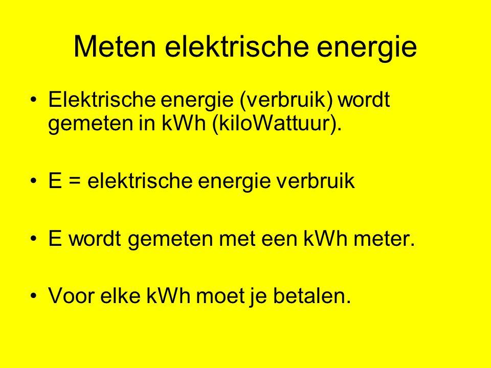 Meten elektrische energie Elektrische energie (verbruik) wordt gemeten in kWh (kiloWattuur). E = elektrische energie verbruik E wordt gemeten met een