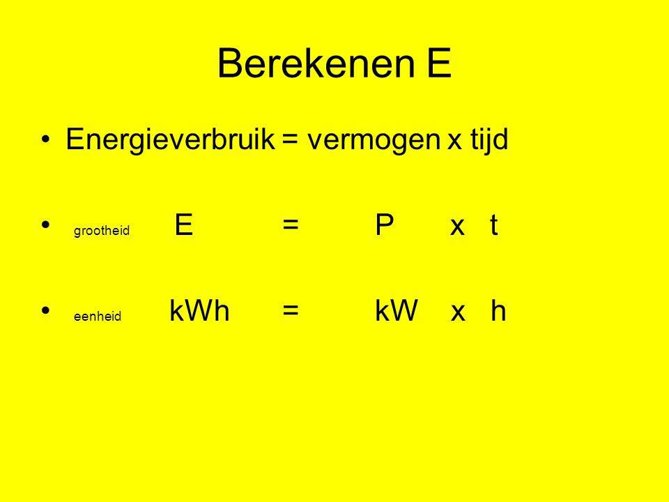 Omrekenen vermogen en tijd 1000 W = 1 kW 60 W = … kW 3600 s = 1 uur 100 s = … uur