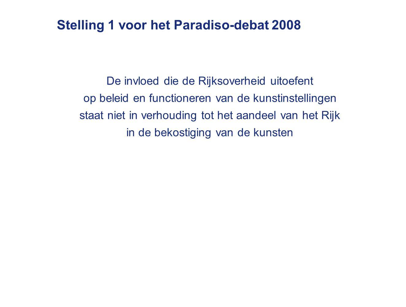 Stelling 1 voor het Paradiso-debat 2008 De invloed die de Rijksoverheid uitoefent op beleid en functioneren van de kunstinstellingen staat niet in verhouding tot het aandeel van het Rijk in de bekostiging van de kunsten