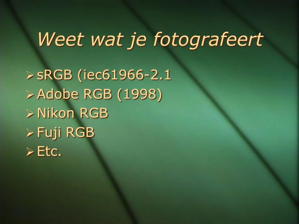 Weet wat je fotografeert  sRGB (iec61966-2.1  Adobe RGB (1998)  Nikon RGB  Fuji RGB  Etc.  sRGB (iec61966-2.1  Adobe RGB (1998)  Nikon RGB  F