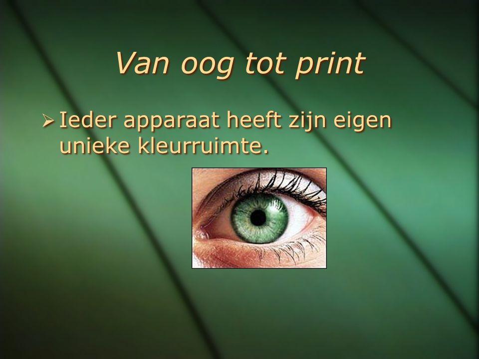 Van oog tot print  Ieder apparaat heeft zijn eigen unieke kleurruimte.