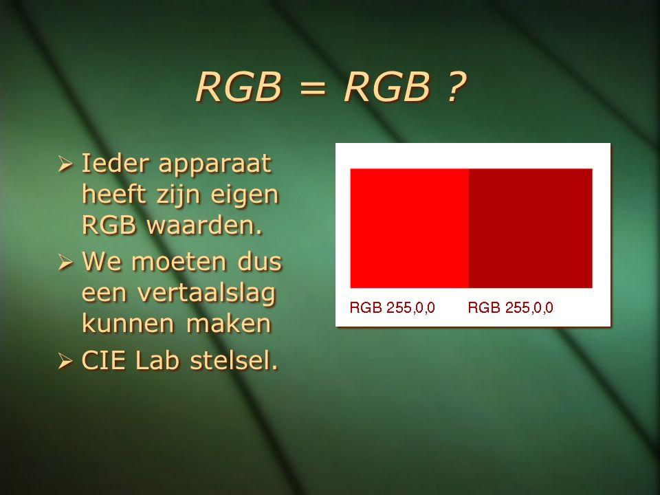 RGB = RGB ?  Ieder apparaat heeft zijn eigen RGB waarden.  We moeten dus een vertaalslag kunnen maken  CIE Lab stelsel.  Ieder apparaat heeft zijn