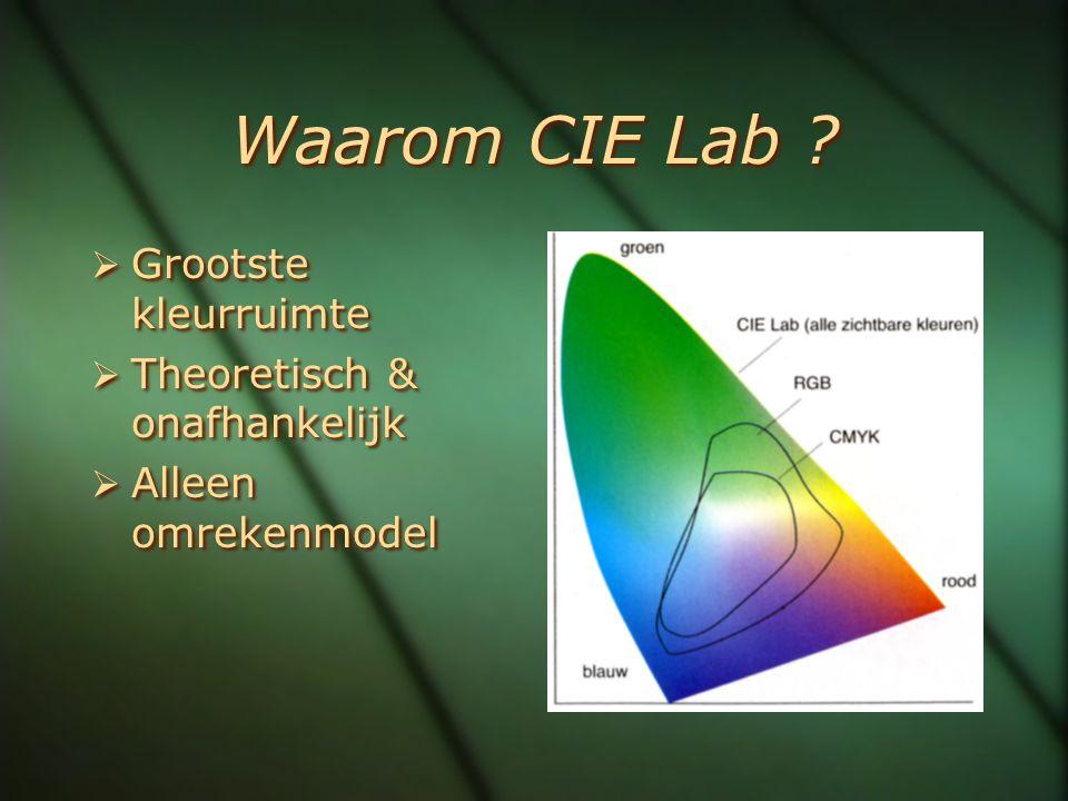 Waarom CIE Lab ?  Grootste kleurruimte  Theoretisch & onafhankelijk  Alleen omrekenmodel  Grootste kleurruimte  Theoretisch & onafhankelijk  All