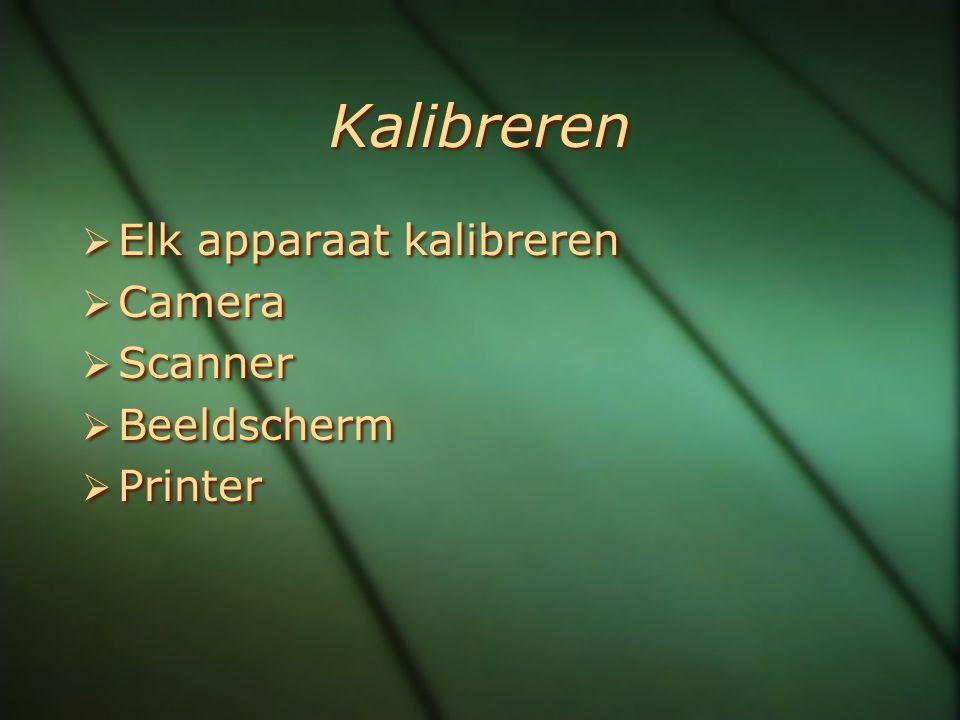 Kalibreren  Elk apparaat kalibreren  Camera  Scanner  Beeldscherm  Printer  Elk apparaat kalibreren  Camera  Scanner  Beeldscherm  Printer