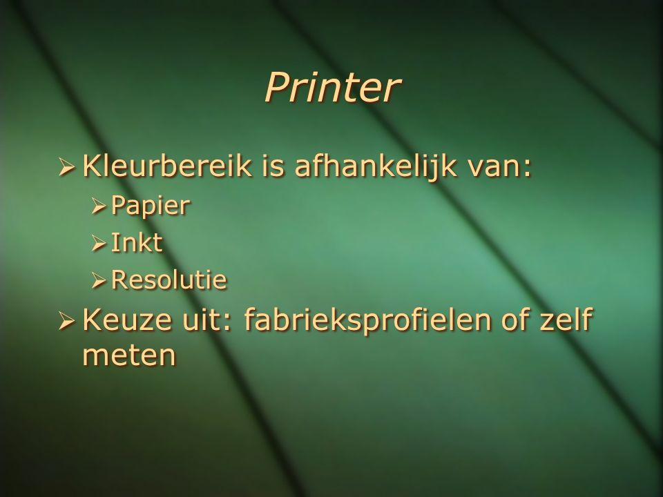 Printer  Kleurbereik is afhankelijk van:  Papier  Inkt  Resolutie  Keuze uit: fabrieksprofielen of zelf meten  Kleurbereik is afhankelijk van: 