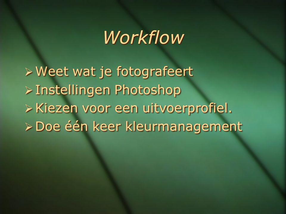 Workflow  Weet wat je fotografeert  Instellingen Photoshop  Kiezen voor een uitvoerprofiel.  Doe één keer kleurmanagement  Weet wat je fotografee