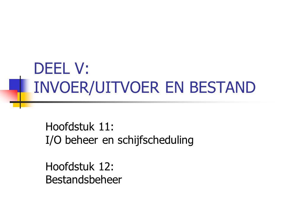 DEEL V: INVOER/UITVOER EN BESTAND Hoofdstuk 11: I/O beheer en schijfscheduling Hoofdstuk 12: Bestandsbeheer