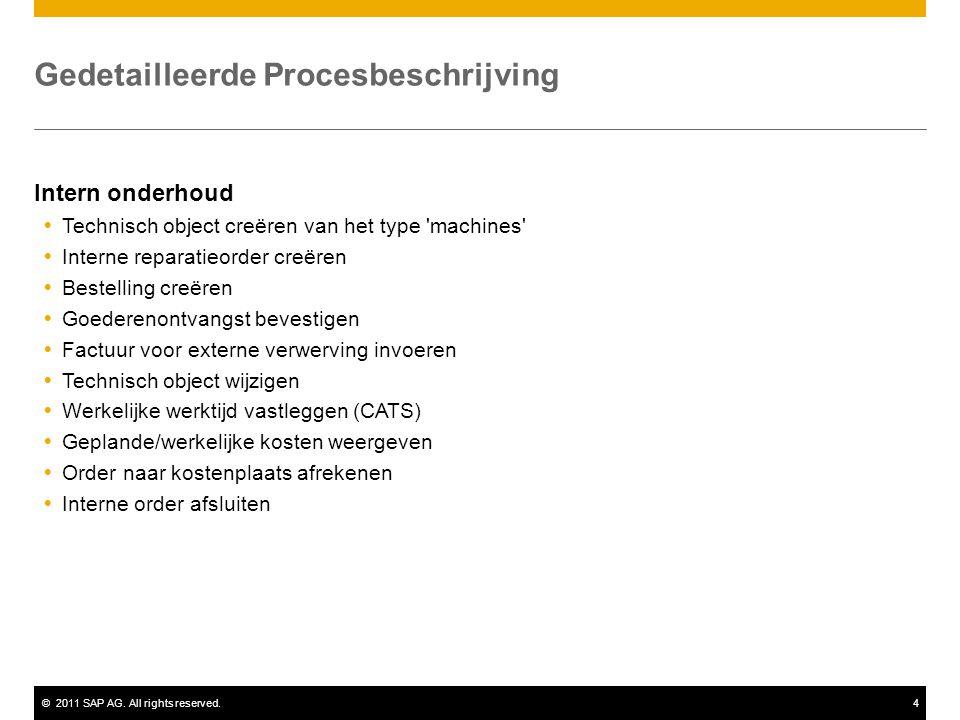 ©2011 SAP AG. All rights reserved.4 Gedetailleerde Procesbeschrijving Intern onderhoud  Technisch object creëren van het type 'machines'  Interne re