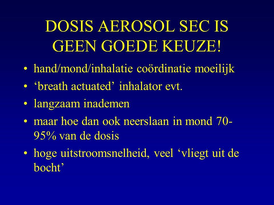 DOSIS AEROSOL SEC IS GEEN GOEDE KEUZE! hand/mond/inhalatie coördinatie moeilijk 'breath actuated' inhalator evt. langzaam inademen maar hoe dan ook ne