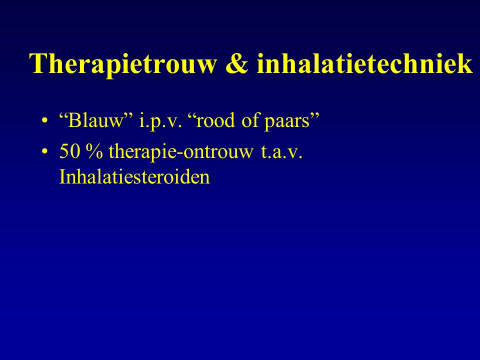 "Therapietrouw & inhalatietechniek ""Blauw"" i.p.v. ""rood of paars"" 50 % therapie-ontrouw t.a.v. Inhalatiesteroiden"