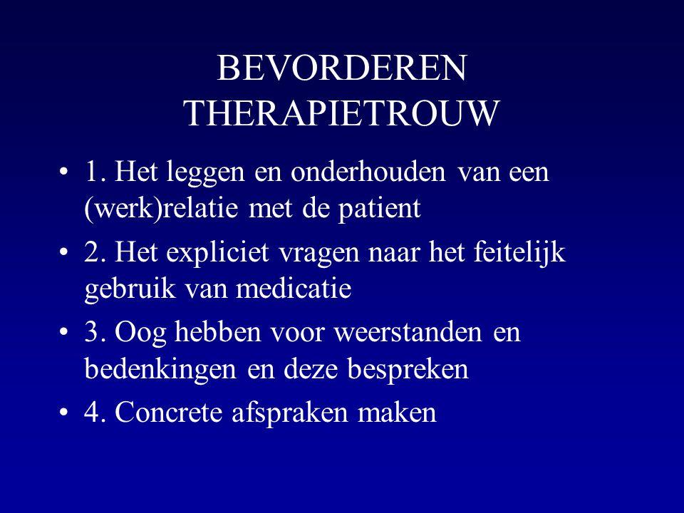BEVORDEREN THERAPIETROUW 1. Het leggen en onderhouden van een (werk)relatie met de patient 2. Het expliciet vragen naar het feitelijk gebruik van medi