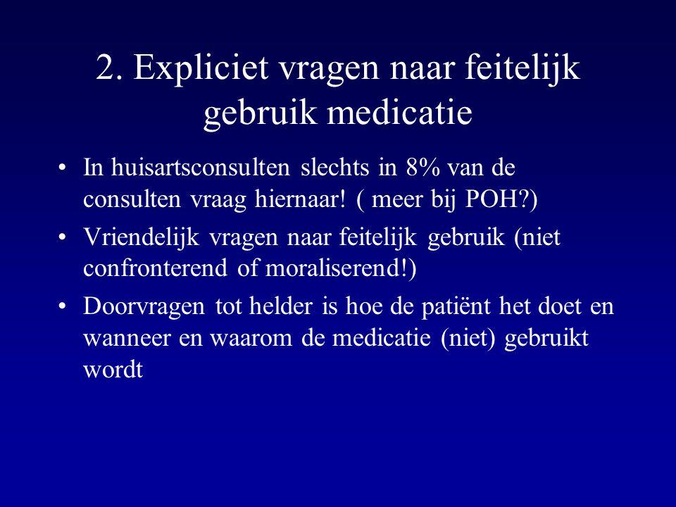 2. Expliciet vragen naar feitelijk gebruik medicatie In huisartsconsulten slechts in 8% van de consulten vraag hiernaar! ( meer bij POH?) Vriendelijk