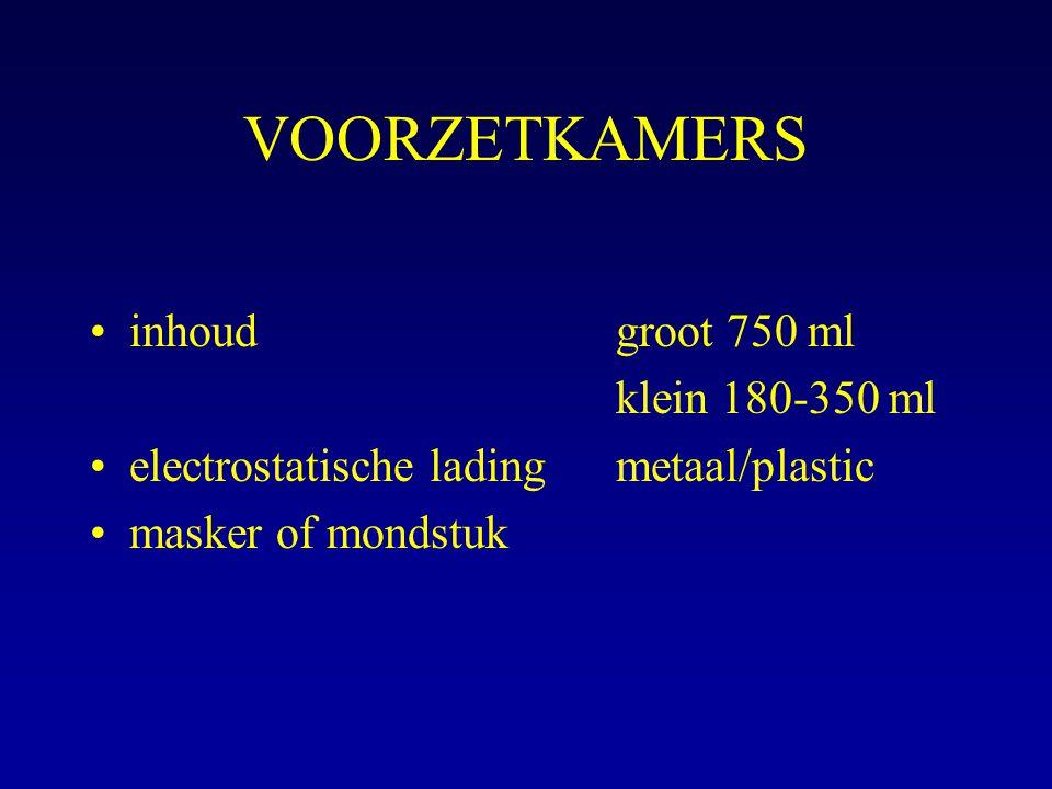 VOORZETKAMERS inhoudgroot 750 ml klein 180-350 ml electrostatische ladingmetaal/plastic masker of mondstuk