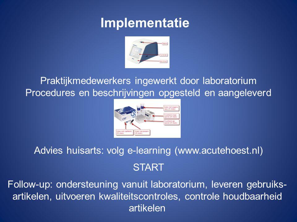 Implementatie Praktijkmedewerkers ingewerkt door laboratorium Procedures en beschrijvingen opgesteld en aangeleverd Advies huisarts: volg e-learning (