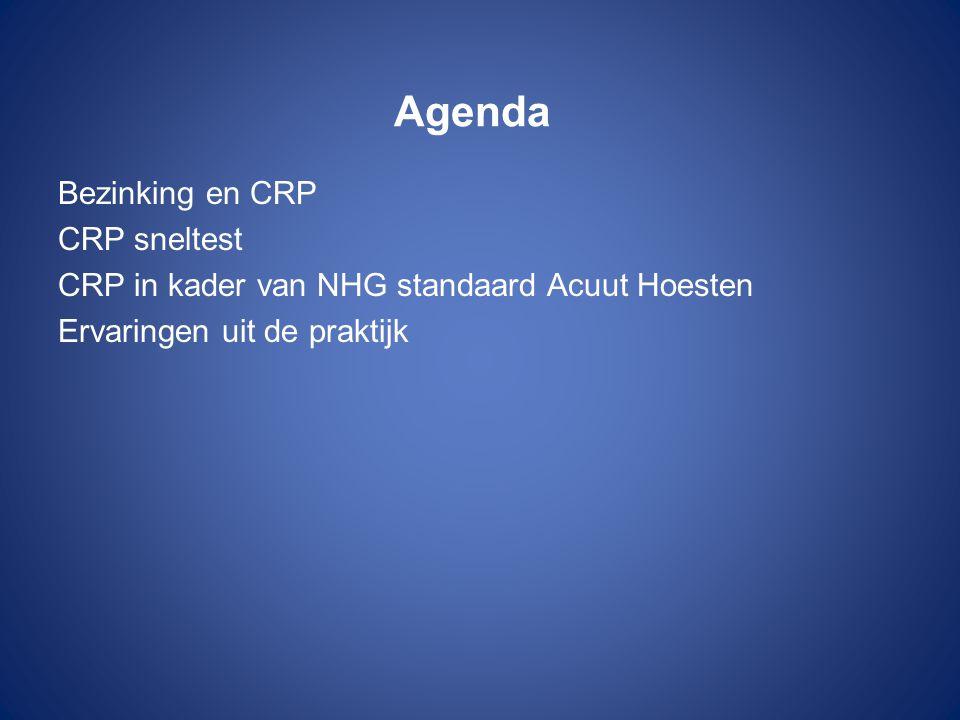 Agenda Bezinking en CRP CRP sneltest CRP in kader van NHG standaard Acuut Hoesten Ervaringen uit de praktijk