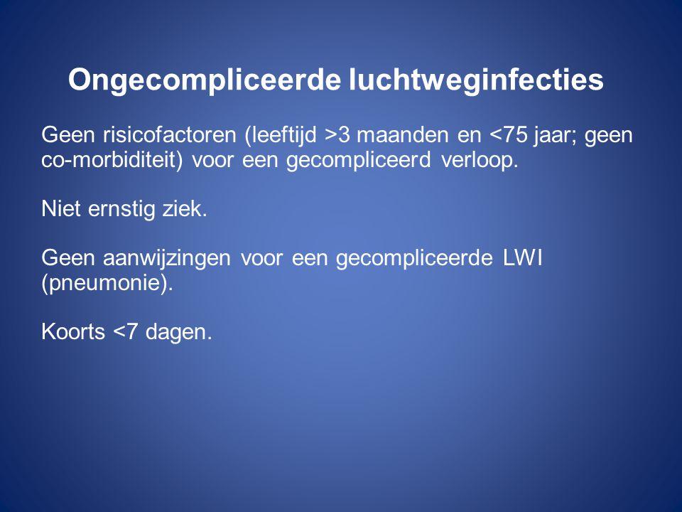 Ongecompliceerde luchtweginfecties Geen risicofactoren (leeftijd >3 maanden en <75 jaar; geen co-morbiditeit) voor een gecompliceerd verloop. Niet ern