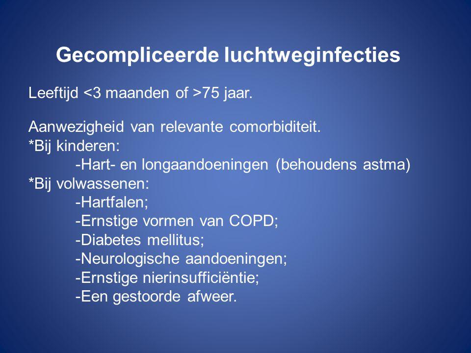 Gecompliceerde luchtweginfecties Leeftijd 75 jaar. Aanwezigheid van relevante comorbiditeit. *Bij kinderen: -Hart- en longaandoeningen (behoudens astm