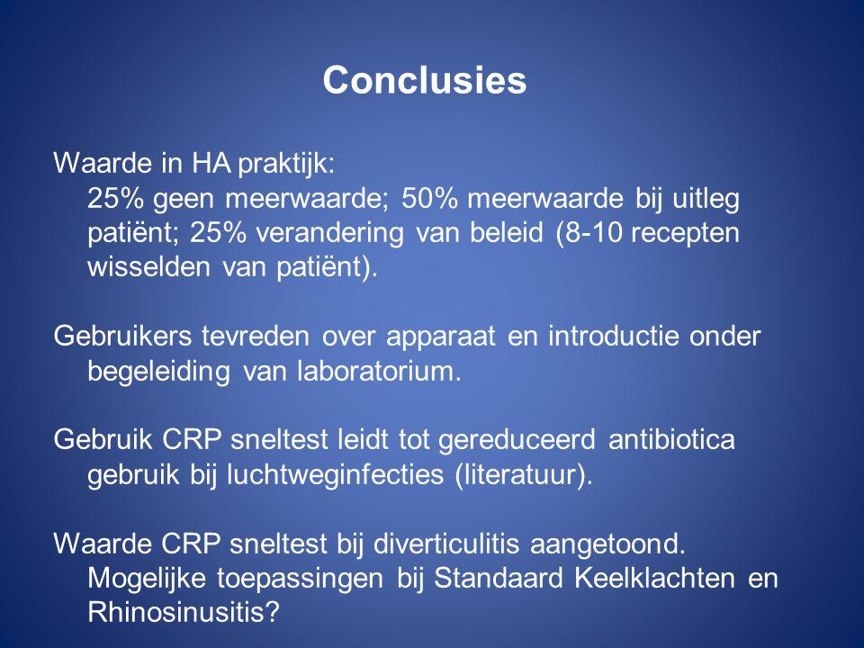 Conclusies Waarde in HA praktijk: 25% geen meerwaarde; 50% meerwaarde bij uitleg patiënt; 25% verandering van beleid (8-10 recepten wisselden van pati