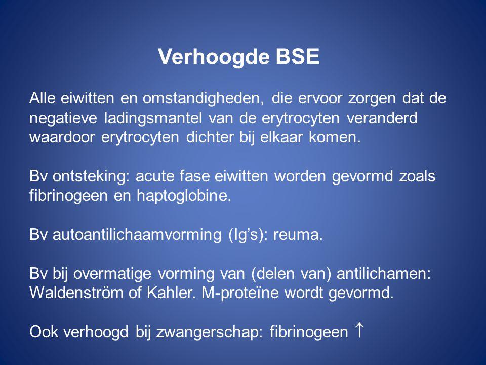 Verhoogde BSE Alle eiwitten en omstandigheden, die ervoor zorgen dat de negatieve ladingsmantel van de erytrocyten veranderd waardoor erytrocyten dich
