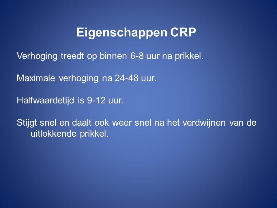 Eigenschappen CRP Verhoging treedt op binnen 6-8 uur na prikkel. Maximale verhoging na 24-48 uur. Halfwaardetijd is 9-12 uur. Stijgt snel en daalt ook