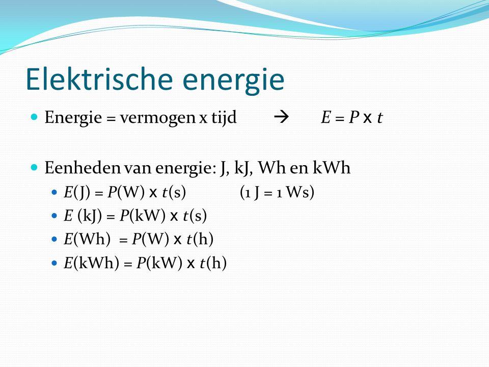 Elektrische energie Energie = vermogen x tijd  E = P x t Eenheden van energie: J, kJ, Wh en kWh E(J) = P(W) x t(s) (1 J = 1 Ws) E (kJ) = P(kW) x t(s) E(Wh) = P(W) x t(h) E(kWh) = P(kW) x t(h)