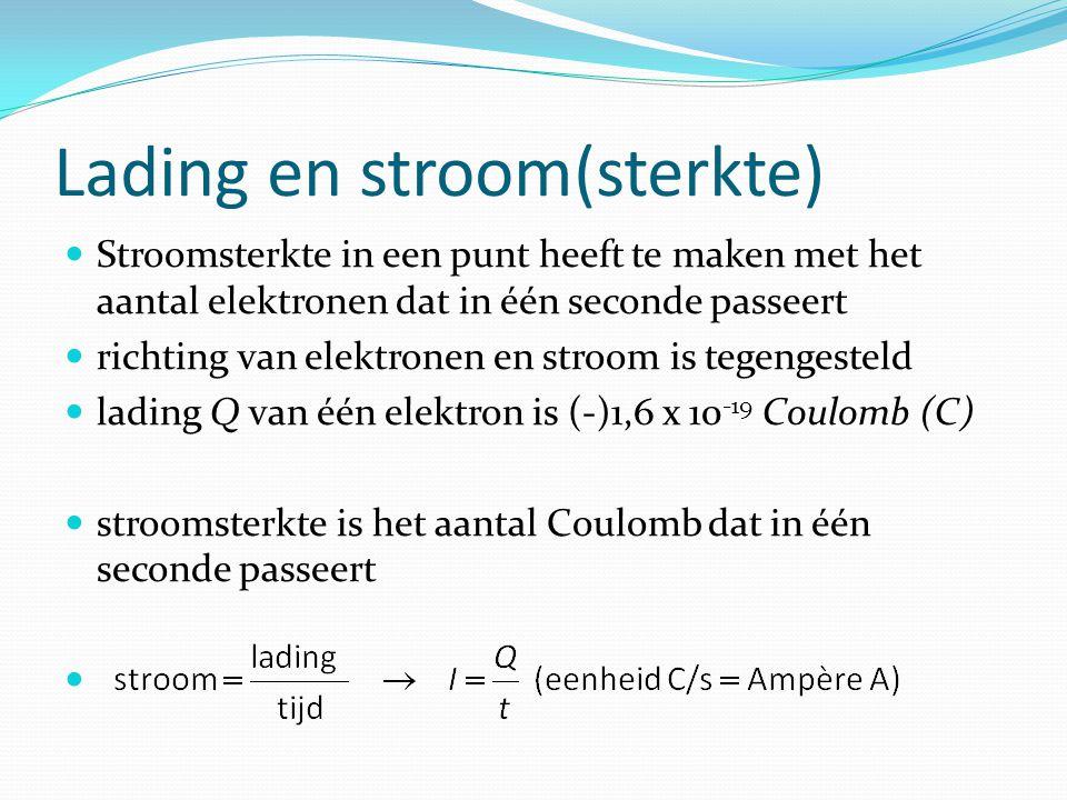 Lading en stroom(sterkte) Stroomsterkte in een punt heeft te maken met het aantal elektronen dat in één seconde passeert richting van elektronen en stroom is tegengesteld lading Q van één elektron is (-)1,6 x 10 -19 Coulomb (C) stroomsterkte is het aantal Coulomb dat in één seconde passeert