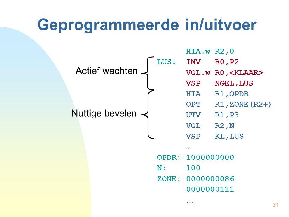 31 Geprogrammeerde in/uitvoer HIA.w R2,0 LUS:INV R0,P2 VGL.w R0, VSP NGEL,LUS HIA R1,OPDR OPT R1,ZONE(R2+) UTV R1,P3 VGL R2,N VSP KL,LUS … OPDR:100000