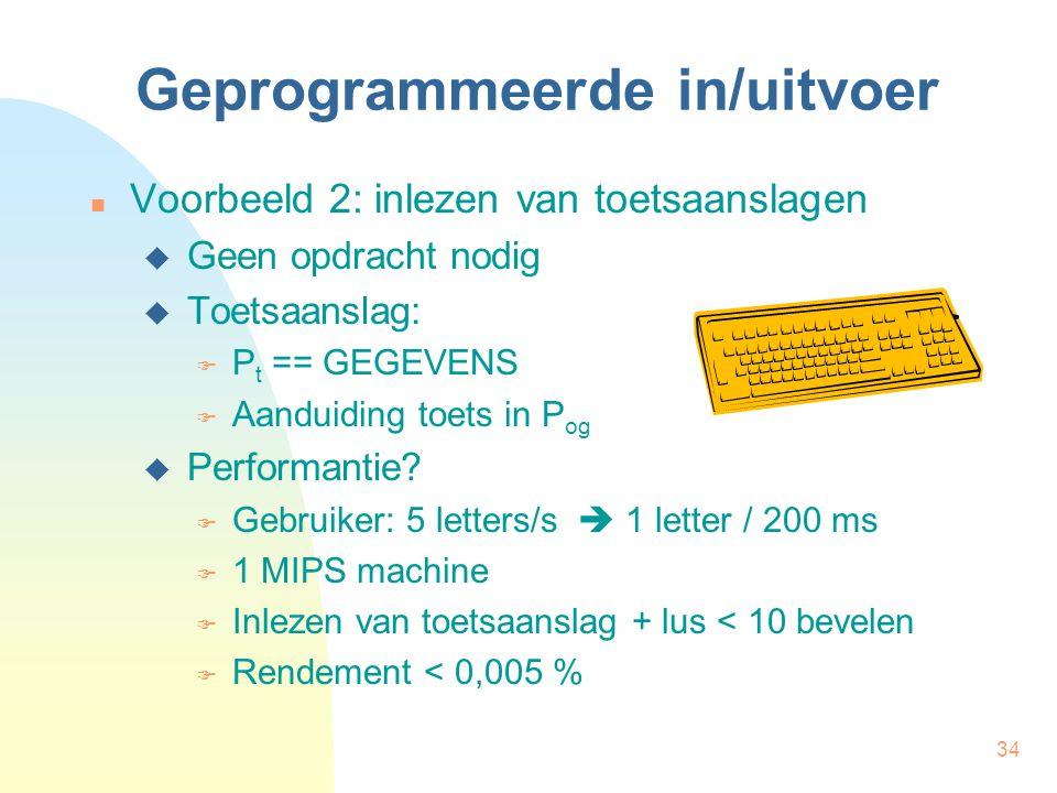 34 Geprogrammeerde in/uitvoer Voorbeeld 2: inlezen van toetsaanslagen  Geen opdracht nodig  Toetsaanslag:  P t == GEGEVENS  Aanduiding toets in P