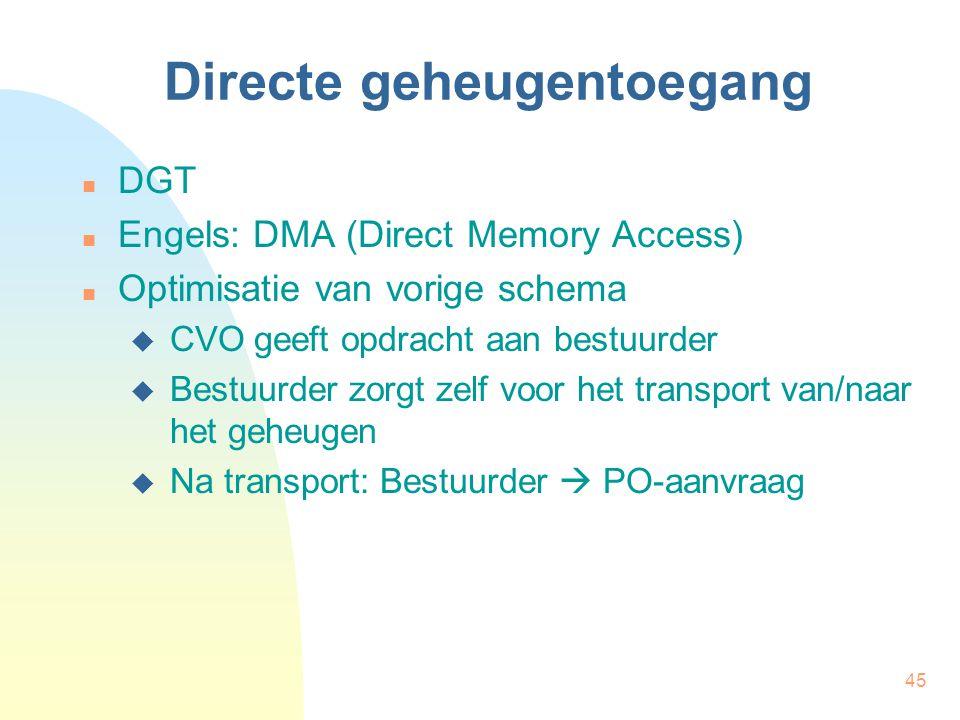 45 Directe geheugentoegang DGT Engels: DMA (Direct Memory Access) Optimisatie van vorige schema  CVO geeft opdracht aan bestuurder  Bestuurder zorgt