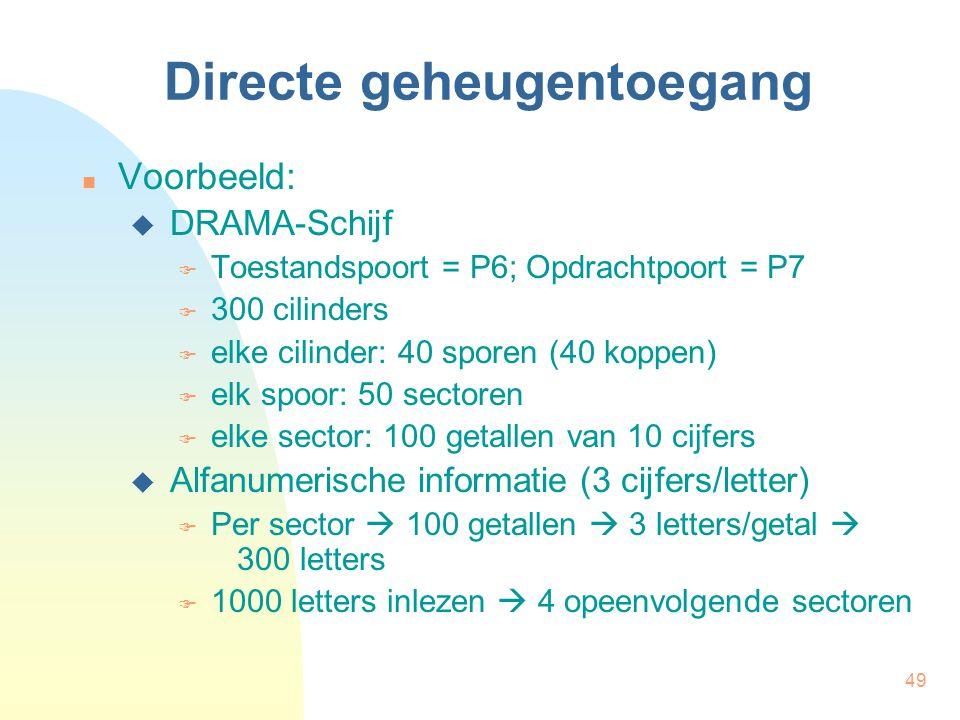 49 Directe geheugentoegang Voorbeeld:  DRAMA-Schijf  Toestandspoort = P6; Opdrachtpoort = P7  300 cilinders  elke cilinder: 40 sporen (40 koppen)