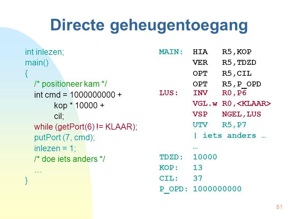 51 Directe geheugentoegang int inlezen; main() { /* positioneer kam */ int cmd = 1000000000 + kop * 10000 + cil; while (getPort(6) != KLAAR); putPort
