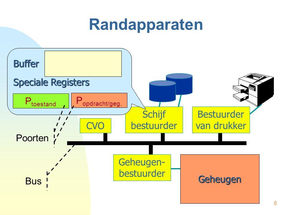 37 Programma-onderbrekingen interrupt po_rout4 () { int cmd; /* bewaar accumulatoren */ if (getPort(2) == KLAAR) { if (idx < n) { cmd = 1000000000 + zone[idx++]; putPort (3, cmd); } } else { /* fout */ } /* herstel accumulatoren */ } PO_R4:BIG R0,BEWAAR BIG R5,BEWAAR+1 BIG R6,BEWAAR+2 INV R0,P VGL.w R0, VSP NGEL,FOUT HIA R6,INDEX VGL R5,AANTAL VSP GEL,EINDE HIA R5,OPDR OPT R5,ZONE(R6+) UTV R5,P BIG R6,INDEX EINDE:HIA R0,BEWAAR … KTO