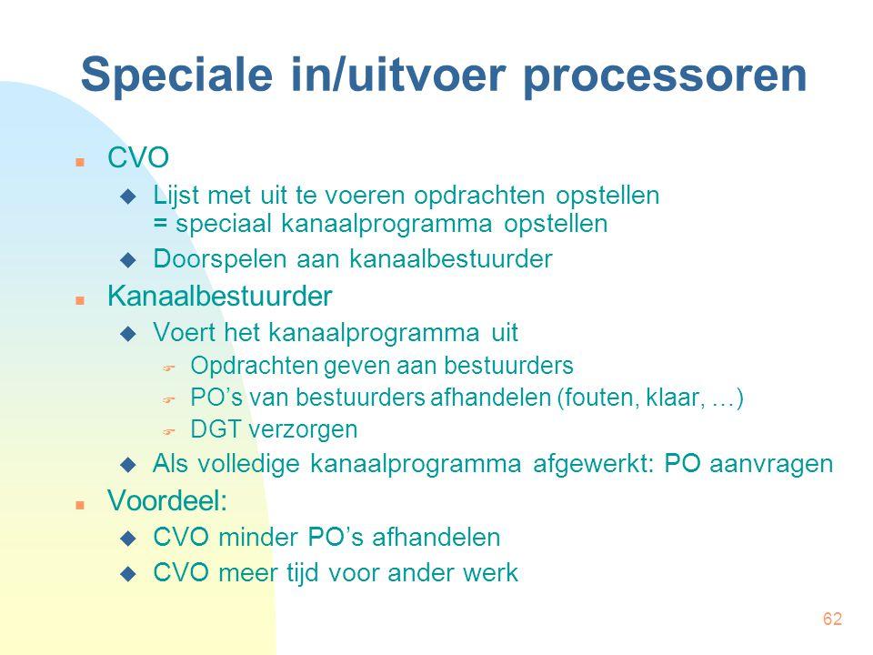 62 Speciale in/uitvoer processoren CVO  Lijst met uit te voeren opdrachten opstellen = speciaal kanaalprogramma opstellen  Doorspelen aan kanaalbest