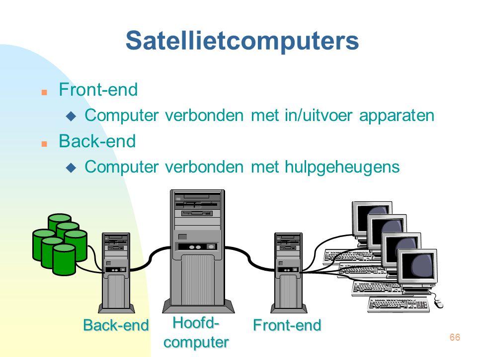 66 Satellietcomputers Front-end  Computer verbonden met in/uitvoer apparaten Back-end  Computer verbonden met hulpgeheugens Back-endFront-end Hoofd-