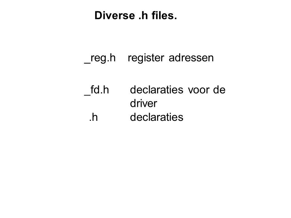 _fd.h register adressen_reg.h declaraties voor de driver.hdeclaraties Diverse.h files.