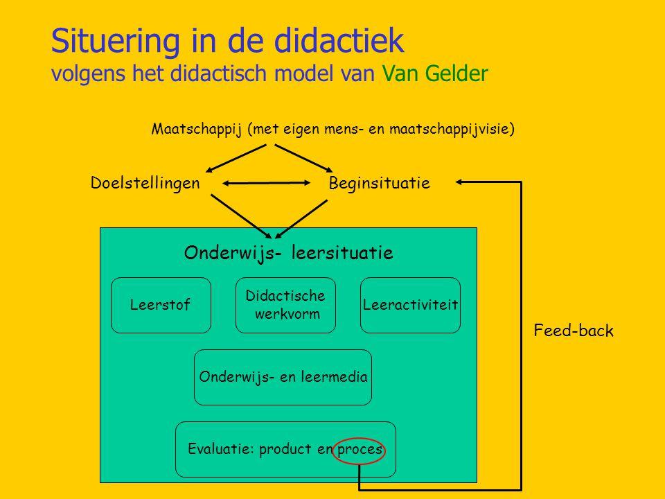 Situering in de didactiek volgens het didactisch model van Van Gelder Maatschappij (met eigen mens- en maatschappijvisie) Onderwijs- leersituatie Leerstof Didactische werkvorm Leeractiviteit Onderwijs- en leermedia Evaluatie: product en proces DoelstellingenBeginsituatie Feed-back