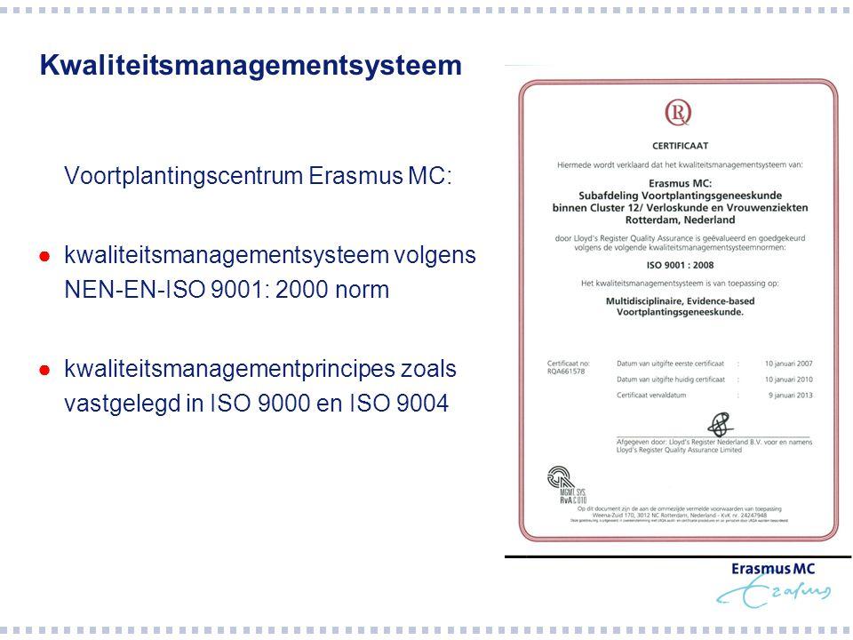 Kwaliteitsmanagementsysteem  Voortplantingscentrum Erasmus MC: ●kwaliteitsmanagementsysteem volgens NEN-EN-ISO 9001: 2000 norm ●kwaliteitsmanagementprincipes zoals vastgelegd in ISO 9000 en ISO 9004