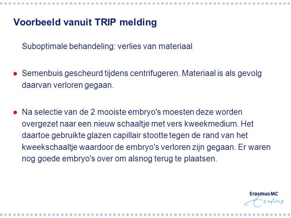 Voorbeeld vanuit TRIP melding  Suboptimale behandeling: verlies van materiaal ●Semenbuis gescheurd tijdens centrifugeren.