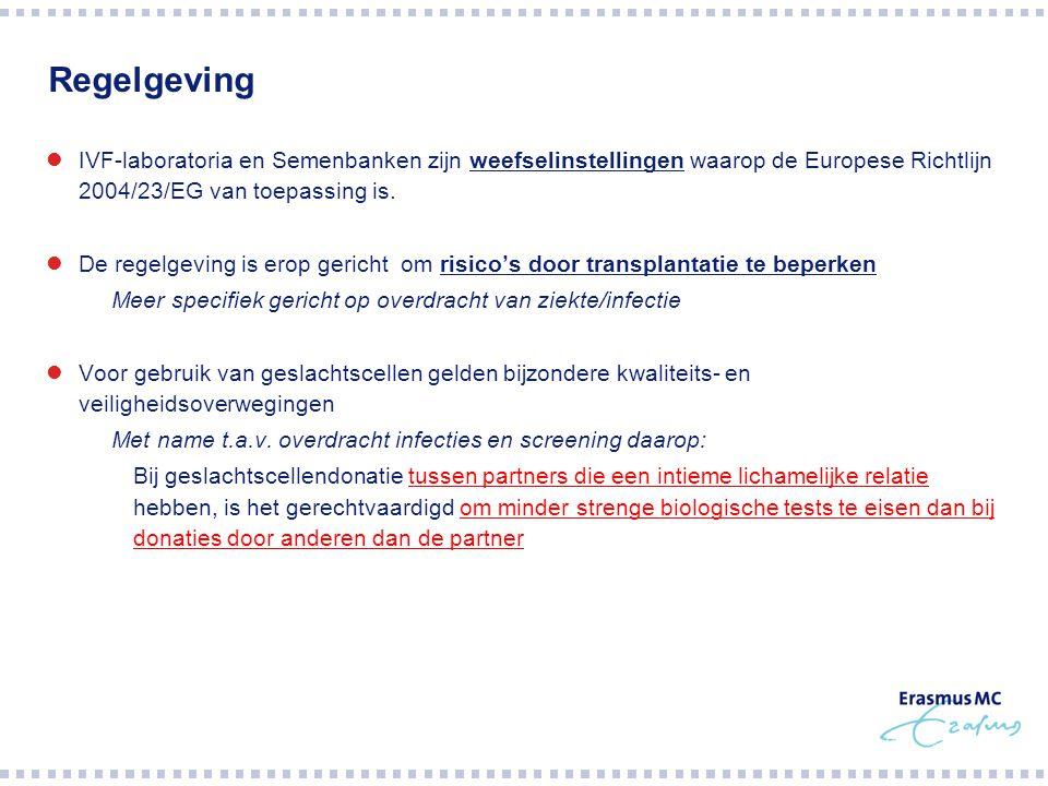 Regelgeving IVF-laboratoria en Semenbanken zijn weefselinstellingen waarop de Europese Richtlijn 2004/23/EG van toepassing is.