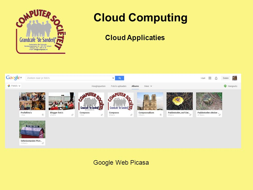 Cloud Computing Cloud Applicaties Google Web Picasa