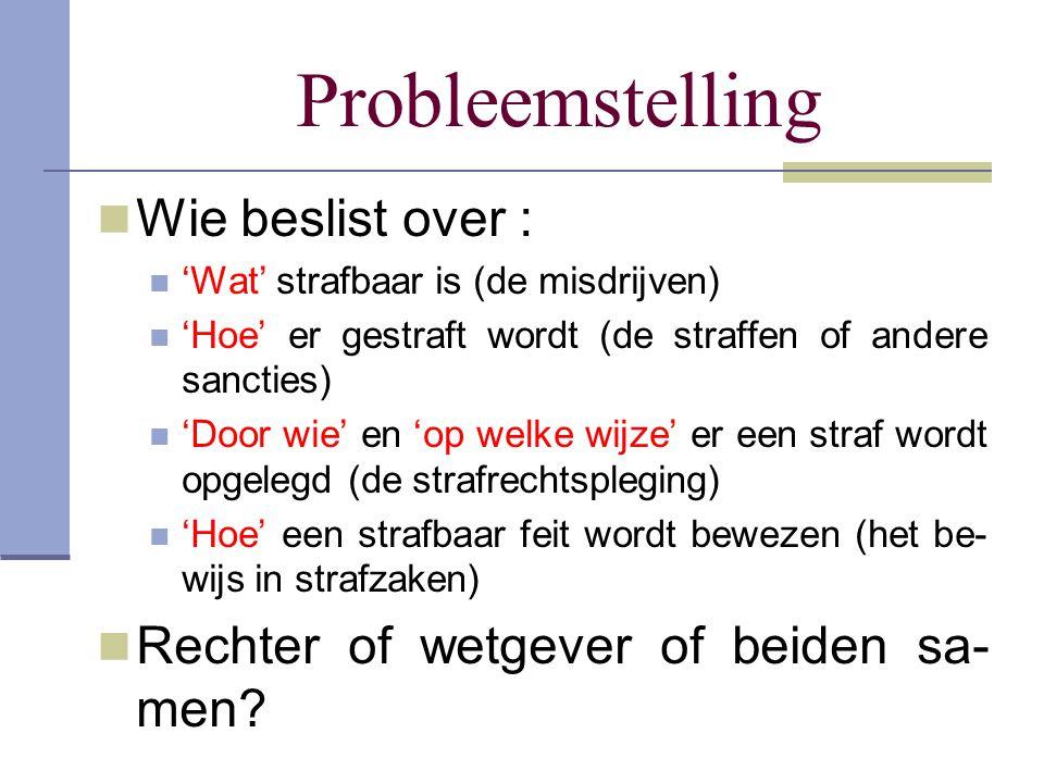 Probleemstelling Wie beslist over : 'Wat' strafbaar is (de misdrijven) 'Hoe' er gestraft wordt (de straffen of andere sancties) 'Door wie' en 'op welk