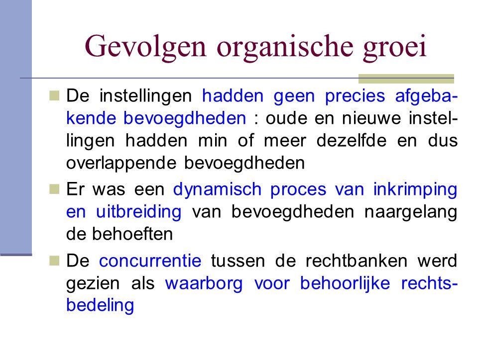 Gevolgen organische groei De instellingen hadden geen precies afgeba- kende bevoegdheden : oude en nieuwe instel- lingen hadden min of meer dezelfde e