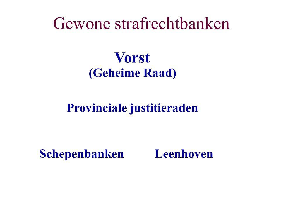 Gewone strafrechtbanken SchepenbankenLeenhoven Provinciale justitieraden (Geheime Raad) Vorst