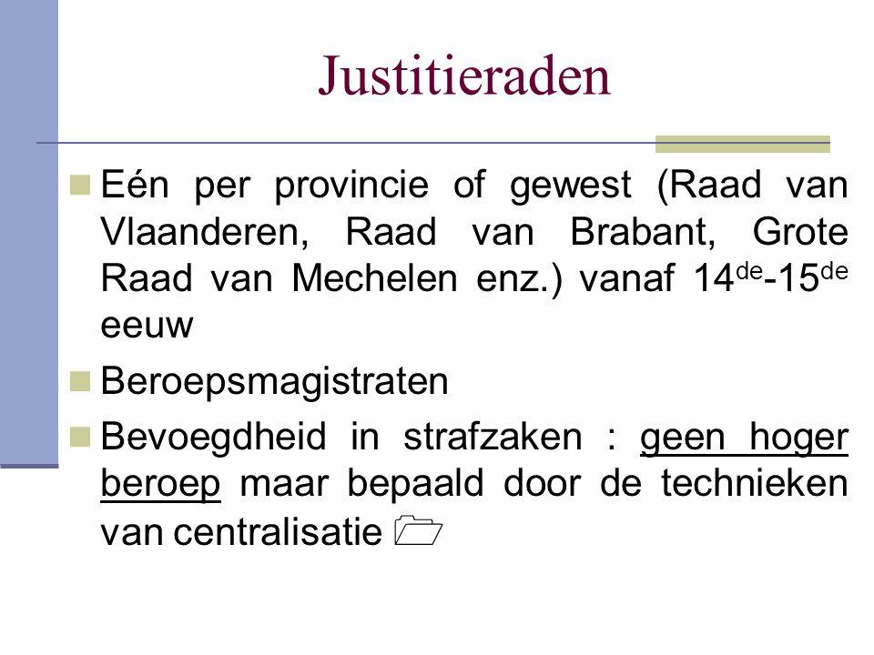 Justitieraden Eén per provincie of gewest (Raad van Vlaanderen, Raad van Brabant, Grote Raad van Mechelen enz.) vanaf 14 de -15 de eeuw Beroepsmagistr
