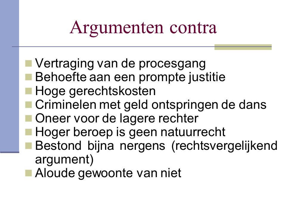 Argumenten contra Vertraging van de procesgang Behoefte aan een prompte justitie Hoge gerechtskosten Criminelen met geld ontspringen de dans Oneer voo